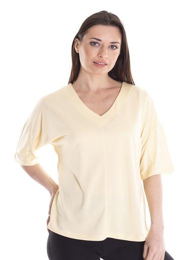 Stamina V Yaka Yarım Kollu Bluz Sarı